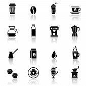 picture of frappe  - Coffee espresso cappuccino frappe black icons set with restaurant symbols isolated vector illustration - JPG
