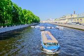 pic of ski boat  - The Fontanka river in Saint Petersburg - JPG