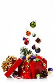 Christmas composition with gift box and decorations