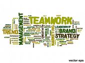 Vector eps concept or conceptual abstract success or teamwork marketing word cloud or wordcloud isolated on white background