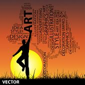 Vector concept or conceptual white abstract art tree and grass shape word cloud, a man jumping on sunset with sun background