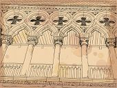 Venice - Piazza San Marco. Columns of the Doge's Palace. Vector drawing
