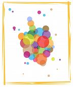picture of dreidel  - Greeting card of a dreidel made out of colorful circles - JPG