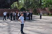 Group Of Schoolchildren In Park Of 28-panfilov's Guardsmen. Almaty