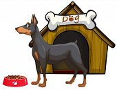 Illustration of a dog and a house