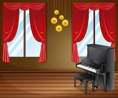 Illustration of a piano in a ballroom