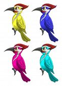 Illustration of a set of colorful birds