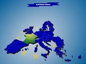 3 dimensional infographics map of European Union countries, with every state easy selectable and edi