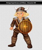 Illustration of a male viking with shield