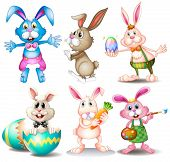 Illustration of many easter rabbits