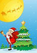 Illustration of Santa and a christmas tree