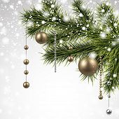 Winter background with spruce branches and golden baubles. Christmas vector illustration. Eps10.