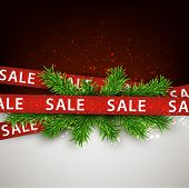 Christmas red sale ribbons over spruce branches. Vector winter illustration.