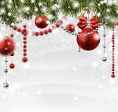 Winter background with spruce twigs and red baubles. Christmas vector illustration. Eps10.