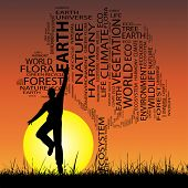 Concept or conceptual black ecology text word cloud as tree and grass, a man jumping on sunset with sun background