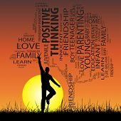 Concept or conceptual black education text word cloud or tagcloud as tree and grass, a man jumping, on sunset with sun background