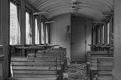 inside an old abandoned train