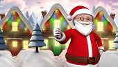 Cute cartoon santa claus against row of snow covered houses