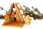 Candy decoration on an isolated gingerbread house