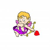 stock photo of ero  - Vector illustration of cute cupid ready to shoot his arrow - JPG