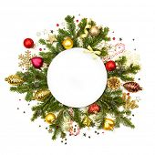 Christmas white round with fir, baubles, ribbons, stars and glitter -  isolated