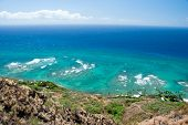 Aerial View Of Diamond Head Lighthouse With Azure Ocean In Background