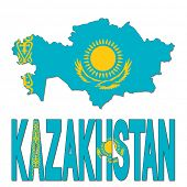 Kazakhstan map flag and text illustration