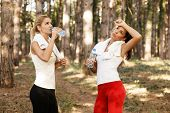 Beautiful Fitness Woman Drinking Water From Plastic Bottles After Running