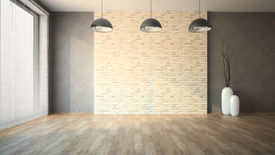 picture of louvers  - Empty room with brick wall - JPG