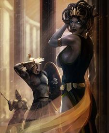 stock photo of medusa  - Greek goddess Medusa posing with stone warriors illustration - JPG