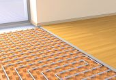 stock photo of floor heating  - one room with a floor heating system  - JPG