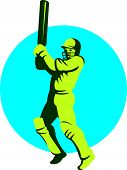 picture of bat  - Illustration of a cricket player batsman with bat batting facing front set inside circle done in retro style on isolated background - JPG