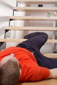 stock photo of untidiness  - Vertical view of accident on the stairs - JPG