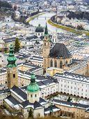 stock photo of tilt  - Beautiful aerial photo on tilt shift lens of Salzburg Austria  - JPG