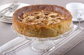 picture of cake stand  - apple cake with almond sliver on a cake stand - JPG