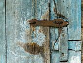 stock photo of barn house  - Wooden door of old barn isolated on background