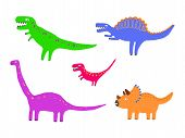 image of dinosaur  - Different kind of colour dinosaurs set - JPG