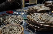 stock photo of dreamcatcher  - Photo of Dreamcatchers in the process of their creation