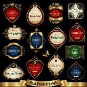 image of aristocrat  - Vector set of color labels with gold elements - JPG