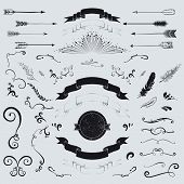 stock photo of feathers  - Decorative elements set - JPG
