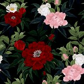 pic of white roses  - Seamless floral pattern with red pink and white roses on black background - JPG