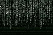 stock photo of binary code  - white matrix on the background of green binary code - JPG