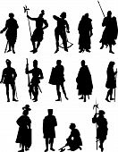 image of arthurian  - Set of Fourteen Knight and Medieval Figure Silhouettes - JPG