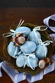 pic of bird egg  - Happy Easter blue decoration eggs in birds nest on dark wood table background - JPG