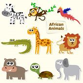 stock photo of african lion  - Set of jungle animals - JPG