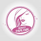 picture of beauty parlour  - Stamp Beauty parlour with beautiful woman face - JPG