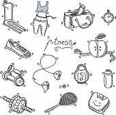 picture of sketche  - Hand drawn doodle sketch icons set fitness and sport concept healthy nutrition lifestyle - JPG
