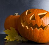 pic of scary face  - Halloween pumpkin head jack lantern with scary evil faces spooky holiday - JPG