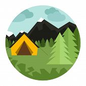image of canopy roof  - Graphical camping illustration made in flat style - JPG