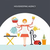 foto of housekeeper  - Busy housekeeper simultaneously doing many tasks around the house - JPG
